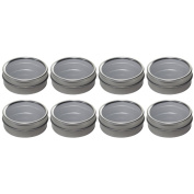 Silver Metal Tin Containers with Tight Sealed Clear Lids - 60ml