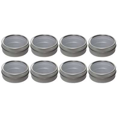 Silver Metal Tin Containers with Tight Sealed Clear Lids - 60ml (8 Pack)