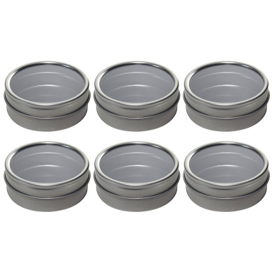 Silver Metal Tin Containers with Tight Sealed Clear Lids - 60ml (6 Pack)