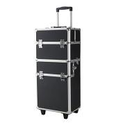 Pro 3 in1 Aluminium Rolling Makeup Cosmetic Train Case Wheeled Box