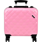 Ver Beauty Professional Travel 4-Wheels Rolling Makeup Studio Case, Quilted Pink