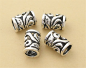 3pcs Thai Sterling Silver Orchid Openwork Large Hole Tube Beads 925 Thai Silver Tube Spacers 6.9mm*10.5mm