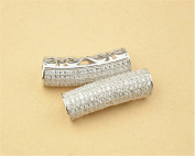 1pc Sterling Silver Zircon Pave Openwork Curved Tube Bead / Connector 925 Silver Zircon Spacer / Pendant 8mm*27mm