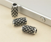 5pcs Thai Sterling Silver Carved Plum Flower Tube Beads 925 Thai Silver Tube Spacers 6mm*11.5mm