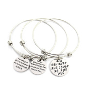 MIKINI Set of 3 Womens Silver Plated Stainless Steel Metal Bracelets Engraved Message Motivational Inspirational Words Round Charm Pendant Adjustable Bracelets