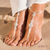 JEWSUN 2 PC Wedding barefoot sandals, Bridal barefoot sandals, Foot jewellery, Wedding sandals, Footless sandals, Slave anklet, Wedding Accessories, Pearl