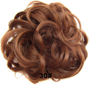 Ladies Synthetic Wavy Curly or Messy Dish Hair Bun Extension Hairpiece Scrunchie Chignon Tray Ponytail#30 Medium auburn
