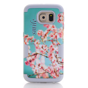 Galaxy S6 Case,SAVYOU 3 in 1 Cherry Blossoms Pattern High Impact Armour Hard PC Cover+Soft Silicone Case Hybrid Defender Shockproof Protective Case for Samsung Galaxy S6 ,Grey