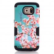 Galaxy S6 Case,SAVYOU 3 in 1 Cherry Blossoms Pattern High Impact Armour Hard PC Cover+Soft Silicone Case Hybrid Defender Shockproof Protective Case for Samsung Galaxy S6 , Black