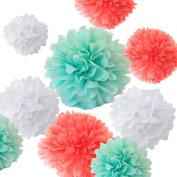 Sorive® Pack of 12pcs Mixed Sizes 20cm 25cm 30cm 36cm Premium Tissue Paper Pom-poms Flower Ball Wedding Party Outdoor Decoration - Coral, Mint Green & White