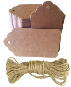 Brown Kraft Tags with Jute Twine - For Use As Gift Tags, Wedding Favour Tags, Product Label / Price Tags or for Scrapbooking and Various Arts & Crafts and Homemade Projects By Sacar Stationery