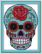 Good Value Cross Stitch Kits Beginners Kids Advanced -Skull 11 CT 28cm x 38cm , DIY Handmade Needlework Set Cross-Stitching Accurate Stamped Patterns Embroidery Home Decoration Frameless