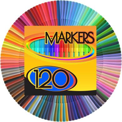 Colour Markers Set - (SET OF 120 UNIQUE & VIBRANT colours) - Completely Washable - Fine Bullet Felt Tip - Pen Size Barrel - Perfect for Adult Colouring, School Projects, Doodling, & More!