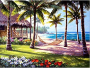 Queenlink Full Pasted DIY Square Diamond Embroidery Paintings Rhinestone Cross Stitch Beach