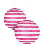 Hot Pink Striped Paper Lantern - 30cm - Set of 2