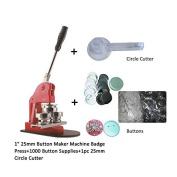 """1"""" 25mm Button Maker Machine Badge Press+1000 Button Supplies+1pc 25mm Circle Cutter"""