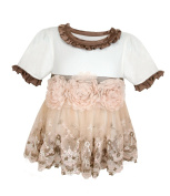 Stephan Baby Angels in Lace English Rose All-in-One Lace Trimmed Nappy Cover with Organza Rosettes, 3-12 Months