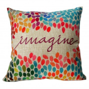 SMTSMT Linen Square Throw Flax Pillow Case Decorative Cushion Pillow Cover-Colourful