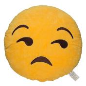 Emoji Smiley Emoticon Yellow Round Plush Pillow, Flouting