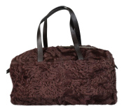 Brunello Cucinelli Large Maroon Shearling Bag Purse Leather Handles