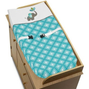 Sweet Jojo Designs Turquoise White and Grey Mod Elephant Baby Girl or Boy Changing Pad Cover
