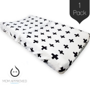 Kaydee Baby High Quality, Velvety Soft, Nappy Changing Pad Cover - (Swiss Cross Black and White) - Perfect For Boys and For Girls Nursery - Great Baby Shower Gift