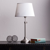 Jessie Transitional Satin Steel with Crisp White Steel Table Lamp