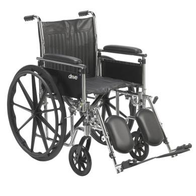 Drive Medical Chrome Sport Wheelchair/Adjustable Detachable Full Arms/Elevating Leg Rests/Seat, 46cm , Chrome