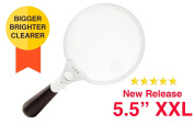 OpticSharp 14cm Extra Large Ultra Bright LED Lighted Magnifying Glass - 2X, 3.5X and 10X Handheld Magnifier with Light for Reading, Inspection, Exploring, Hobbies and More
