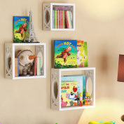 Children's Square Cube Wall Shelves Set 3 Pcs - Display Kids Favourite Books, Photos, and More - Beautifully Carved Side Panels and Open Back Design