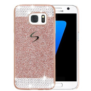 Galaxy S7 Edge Case, ARSUE (TM) Beauty Luxury Hybrid Bling Rhinestone Diamond Crystal Glitter Hard Case Cover Shell Phone Case for Samsung Galaxy S7 Edge