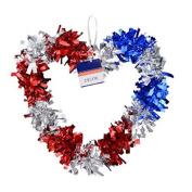 Patriotic Tinsel Wall Decorations - Heart