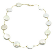 Freshwater White Coin Pearl Necklace 14k Yellow Gold Spacer ,46cm