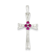 .925 Sterling Silver Red CZ Cross Charm Pendant
