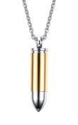 Stainless Steel Bullet Memorial Cremation Ash Urn Vial Tube Pendant Keepsake Necklace 60cm , Colour Gold Silver