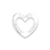 .925 Sterling Silver Faith, Hope, and Love Heart Charm Pendant
