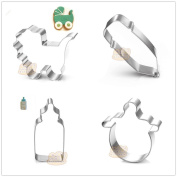 4 Pcs Packed Baby Items Stainless Steel Cookie Dessert Cake Cutter DIY Mould