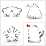 4 Pcs Packed Christmas Theme Stainless Steel Cookie Dessert Cake Cutter Mould