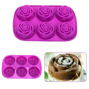 6 Cavities Rose Shape Non Stick Bundt Pudding Chocolate Cake Pan Silicone Mould