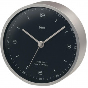 BARIGO Pentable Series Quartz Clock - Wall Plated Nickel Housing - 10cm Black Dial