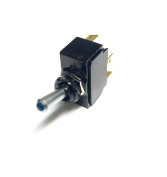 Toggle Switch ON/OFF, SPST, Lighted Blue Lens