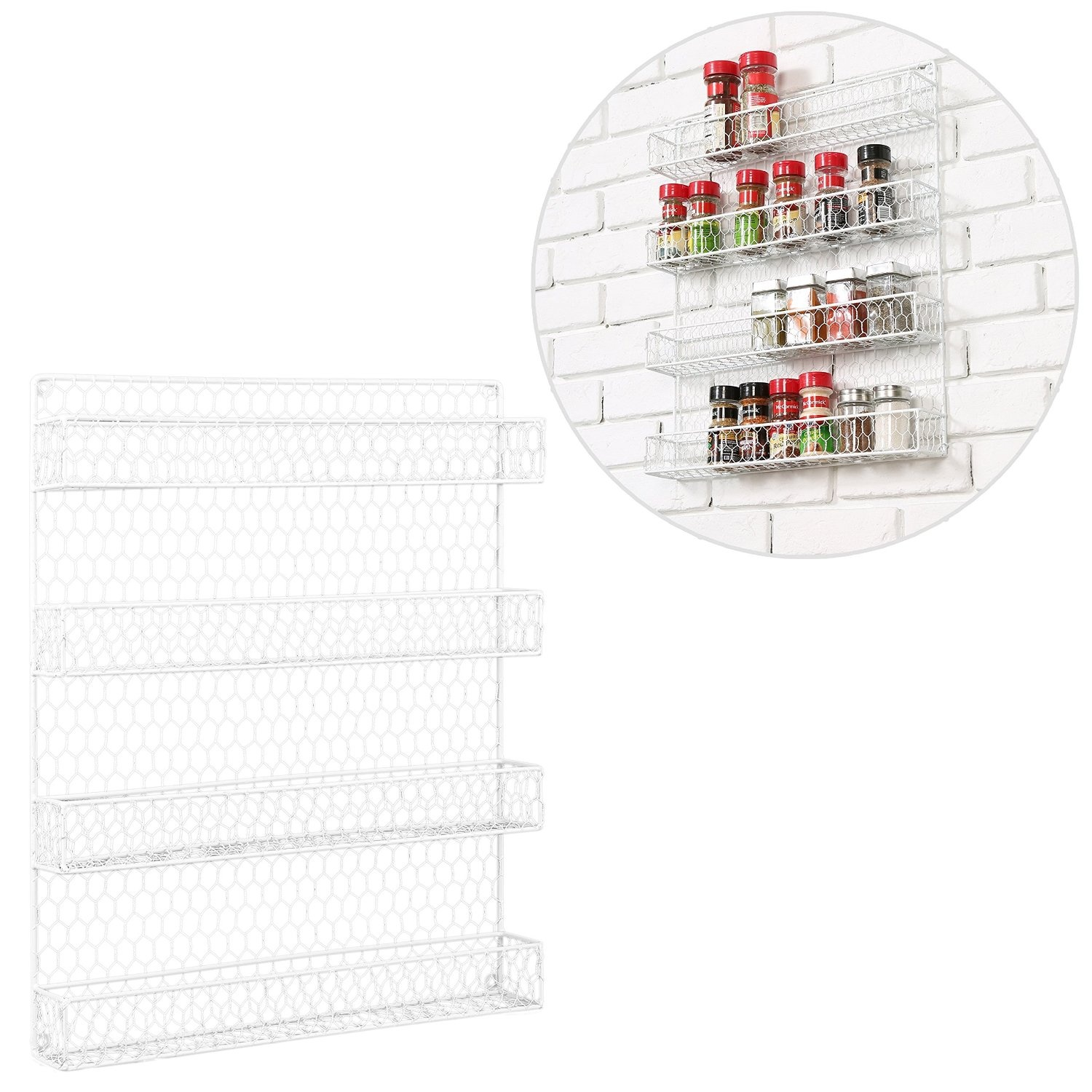4 Tier White Country Rustic Chicken Wire Pantry, Cabinet or Wall ...