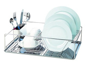 EuroWare Heavy Duty Chrome Plater Stainless Steel Large Split Level Dish Drying Rack with Cutlery Holder, 50cm , Silver