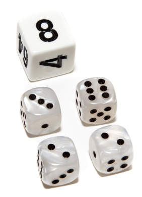 Bello Games Deluxe Marbleized Dice Sets-White 1.3cm
