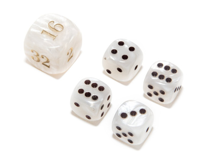Bello Games Deluxe Marbleized Dice Sets-White 1.6cm