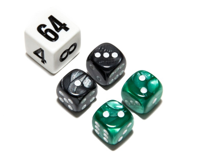 Bello Games Deluxe Marbleized Dice Sets-Green/Black 1.3cm