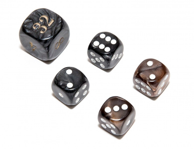 Bello Games Deluxe Marbleized Dice Sets-Black/Brown 1.6cm