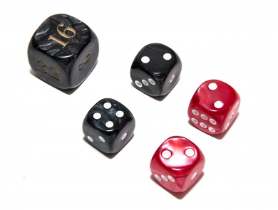 Bello Games Deluxe Marbleized Dice Sets-Black/Red 1.6cm
