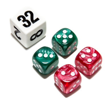 Bello Games Deluxe Marbleized Dice Sets-Green/Red 1.3cm