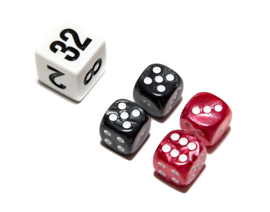Bello Games Deluxe Marbleized Dice Sets-Black/Red 1.3cm